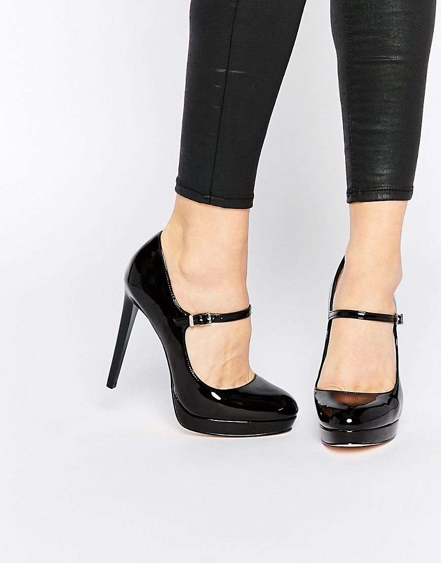 Faith Chrissie Black Patent Mary Jane Shoes