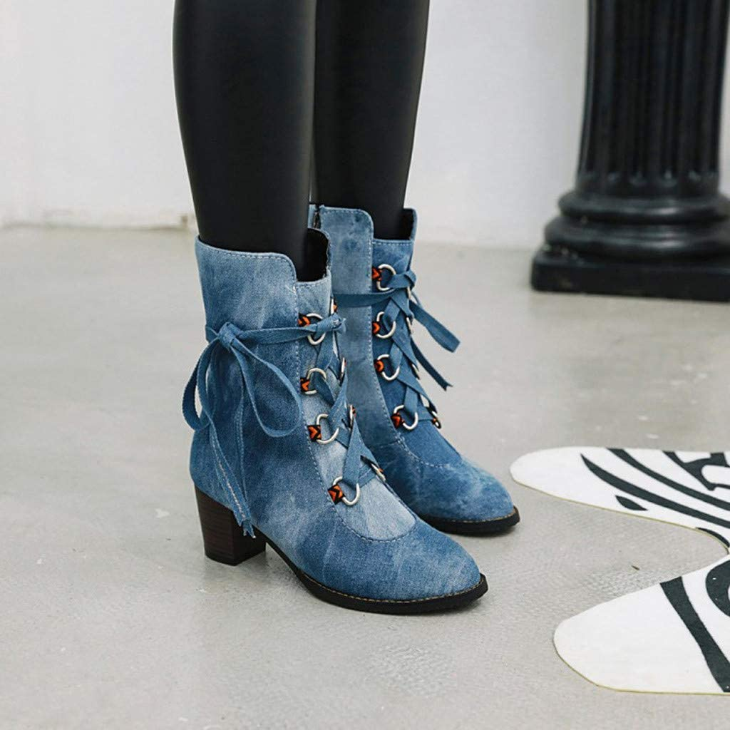 Fashion Women's Boots High Heels Ladies Stylish Womens Cowboy Comfortable Low-heeled Lace-Up Roman Shoes Ankle Boots Outdoor Comfortable Casual Boot