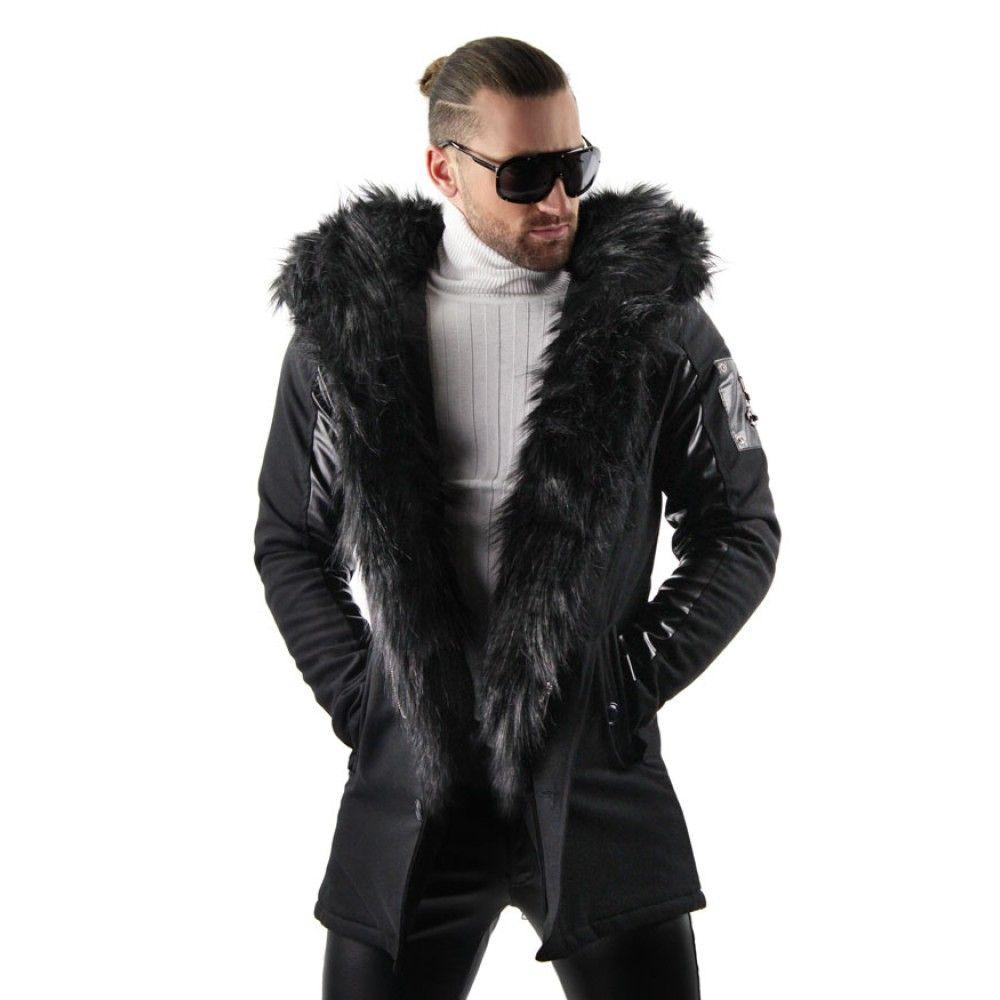 Faux Fur Lined Parka Jacket With Split Hood