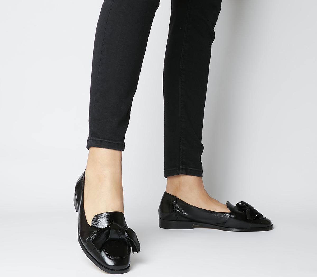 Filly Bow Loafers Black Leather Black Sole
