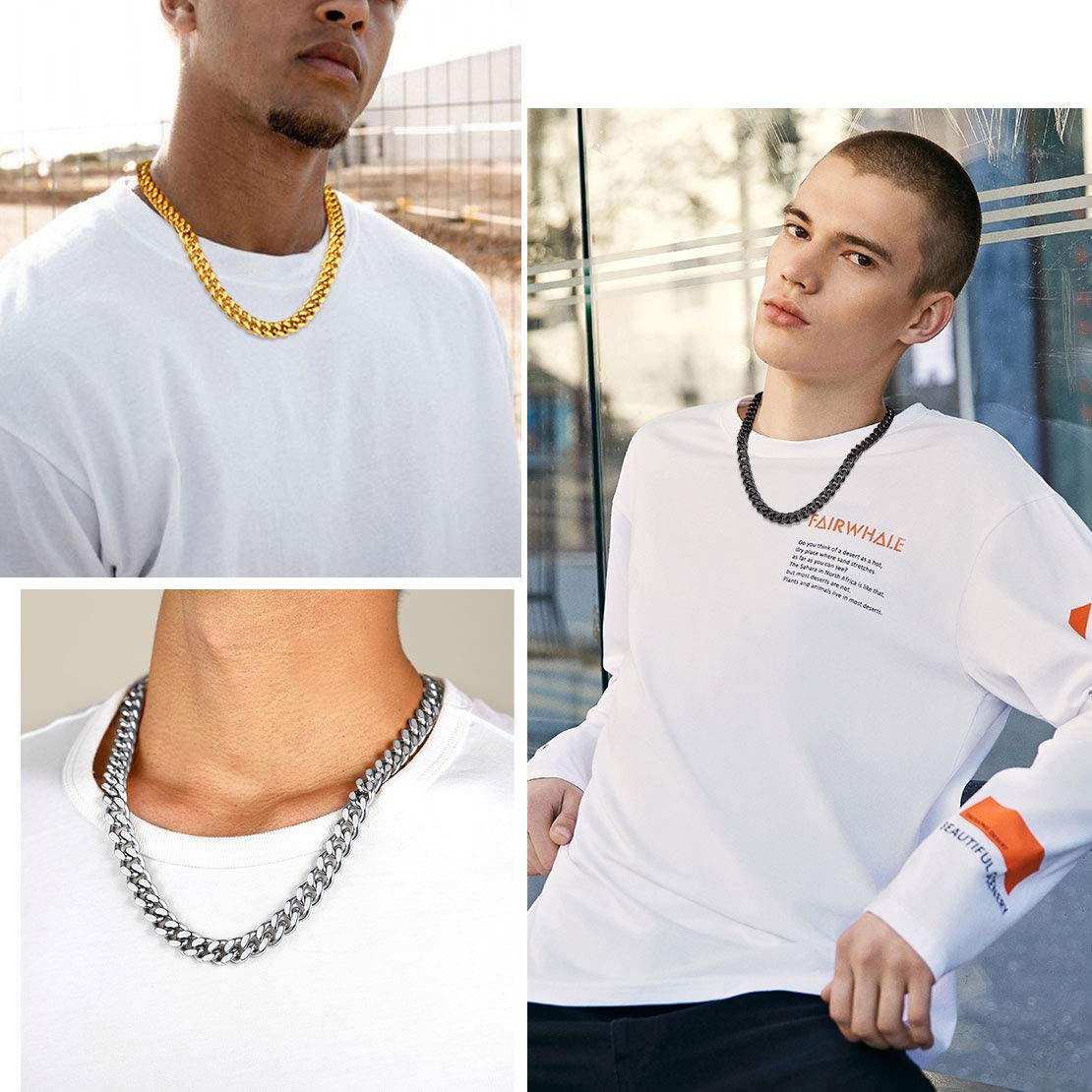 FindChic Mens Curb Chain 5/7/9/12mm Stainless Steel Mens Chain Necklace Hip Hop Jewellery Cuban Chain