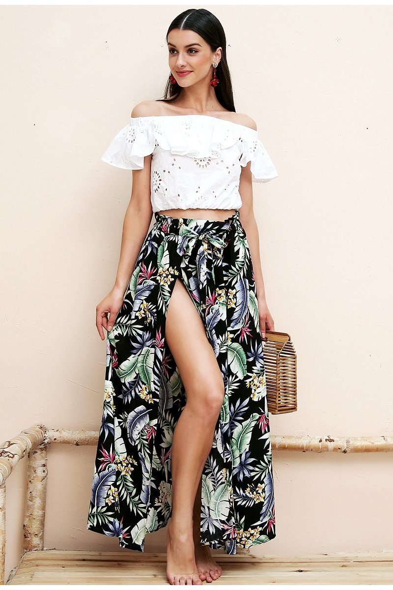 Floral Print High Split Maxi Skirt