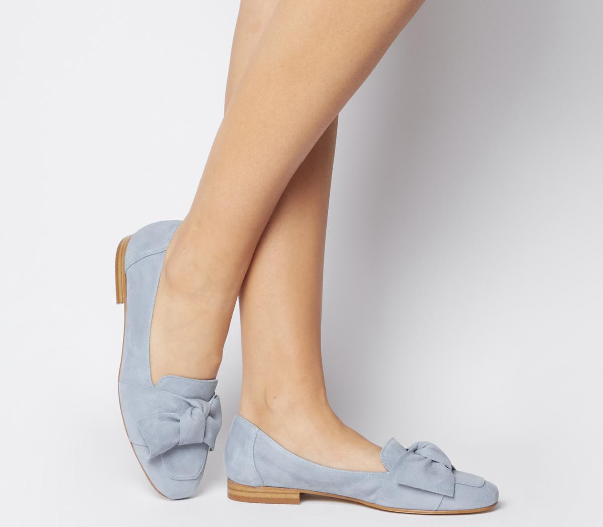 Foal Softy Bow Loafers Pale Blue Suede