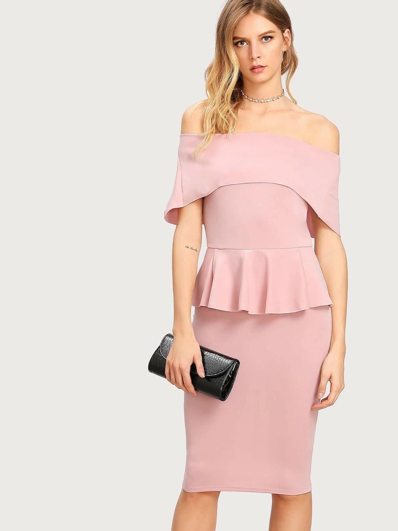 Fold Over Bardot Peplum Dress