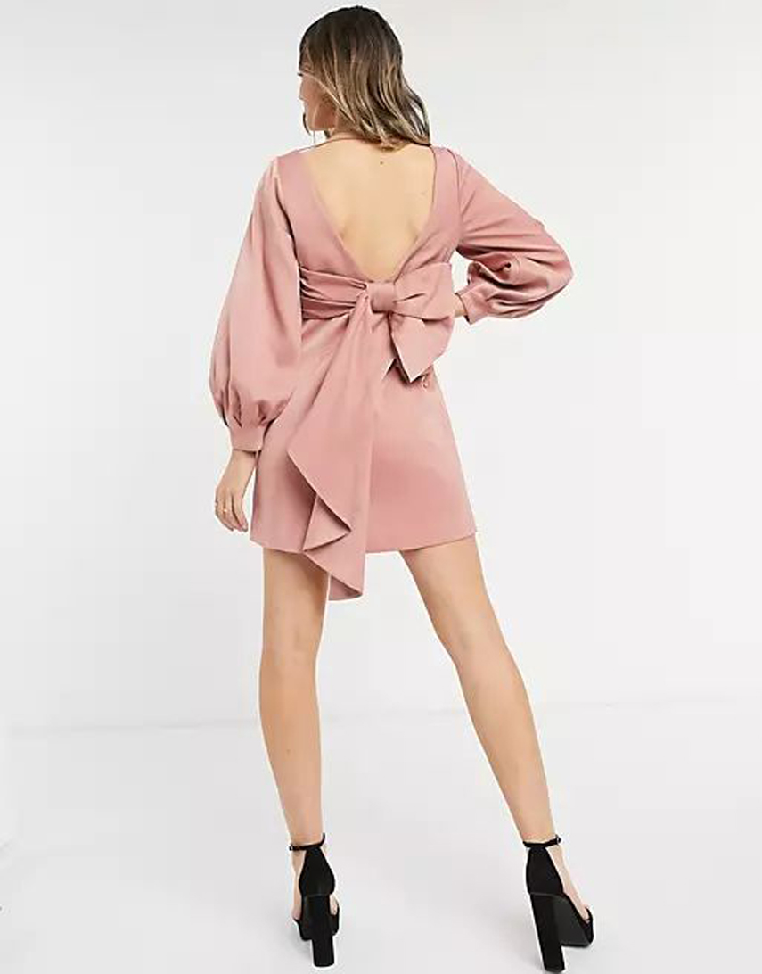 Forever New bow back mini dress in rose pink