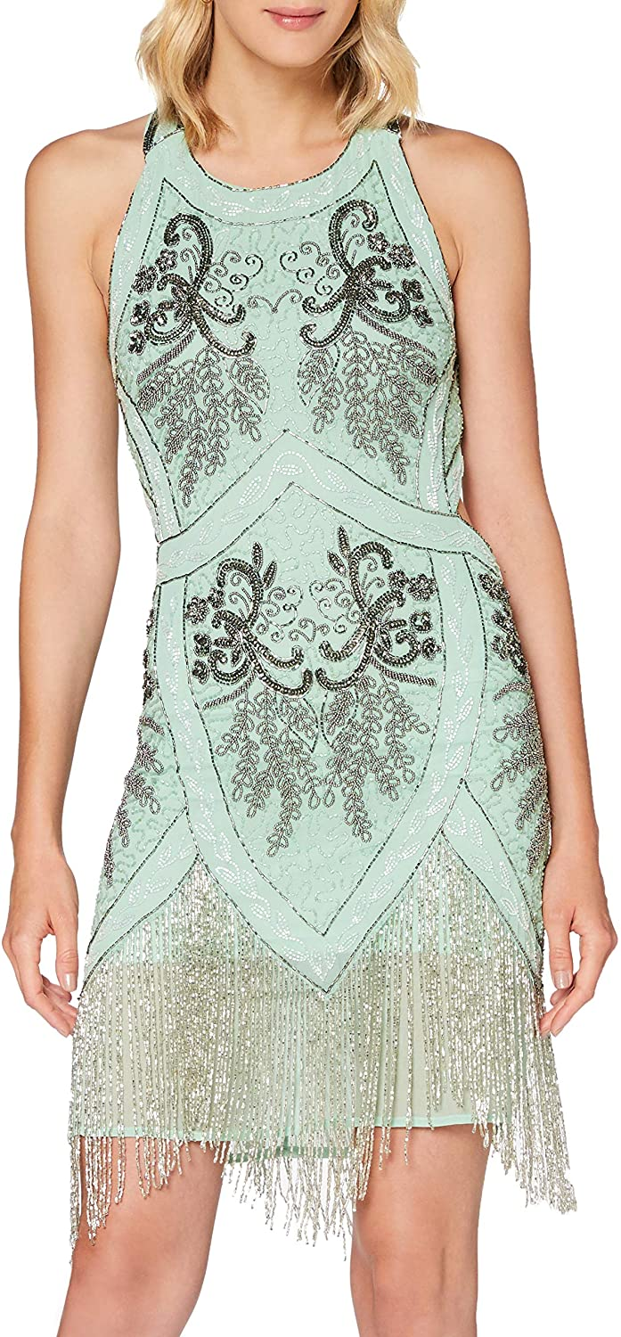 Frock and Frill Women's Invicta Embellished Fringed Cross Back Flapper Dress Party