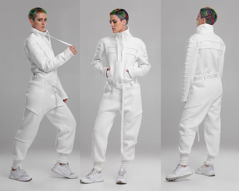 Futuristic white jumpsuit