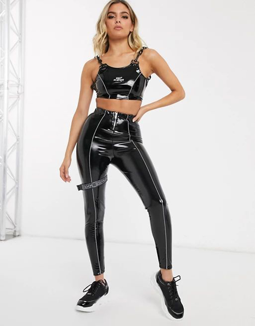 GOGUY vinyl leggings with reflective detail co-ord