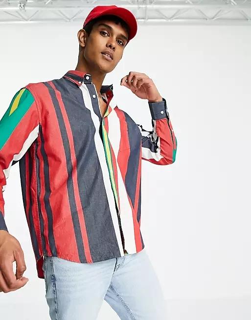 Gant oversized multi stripe shirt in marine navy