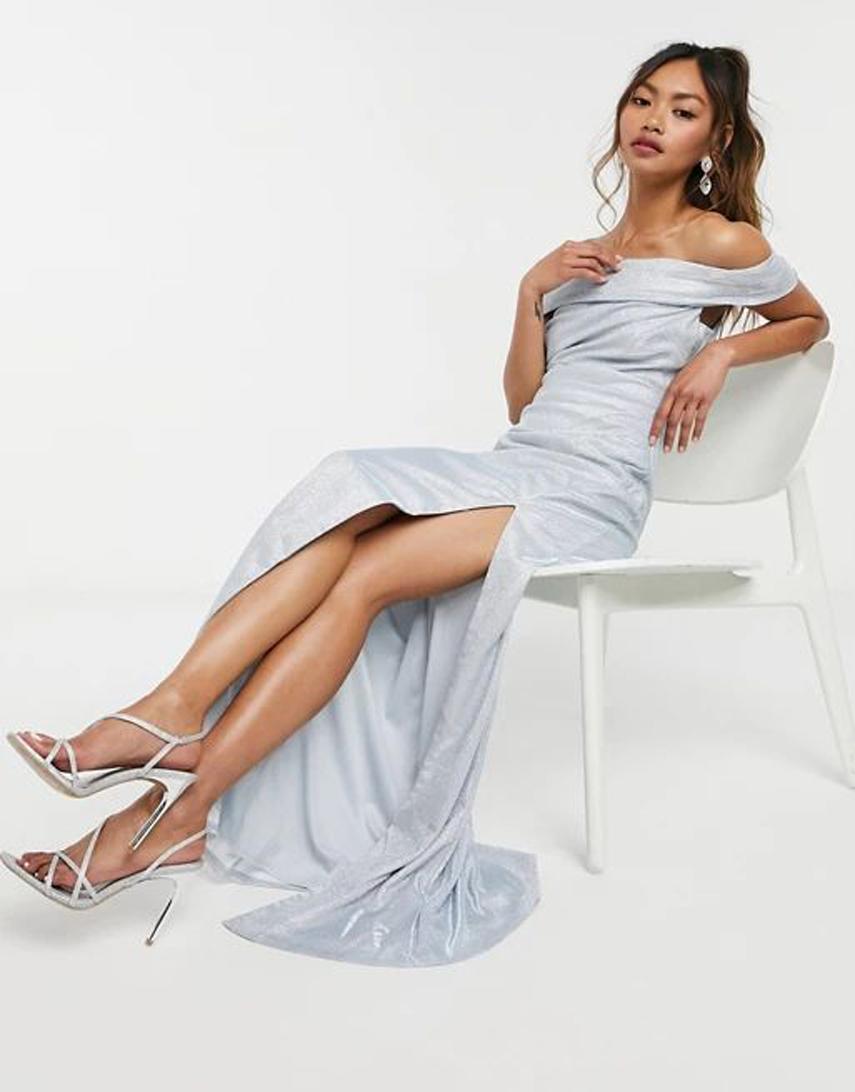 Goddiva bardot maxi dress in silver