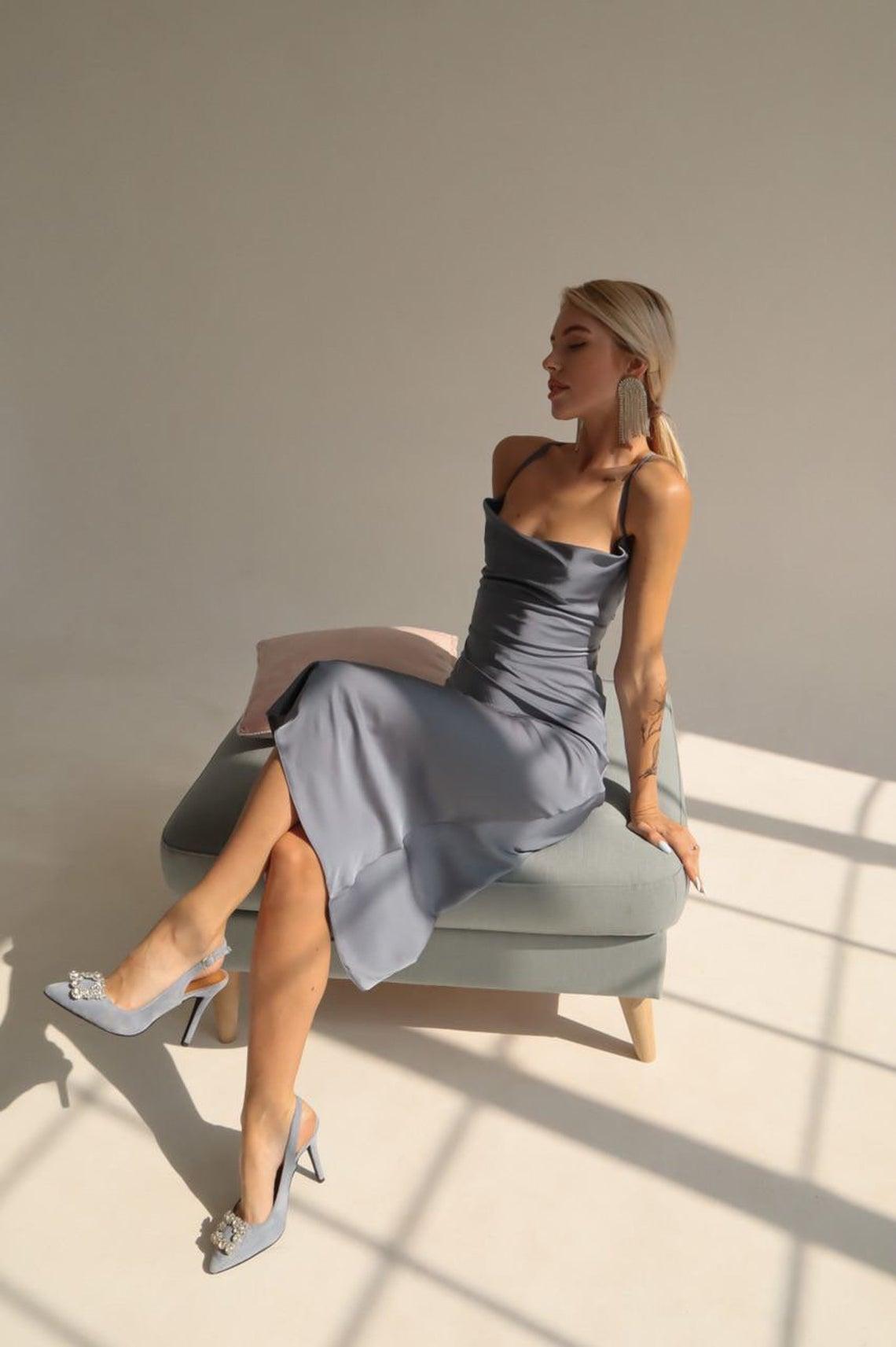 Grey Silk Cowl Neck Dress, Close-fitting Cut Satin Sexy Dress, Satin Bridesmaid Cowl Neck Dress, Satin Tie Straps Back Midi Dress,Slip Dress