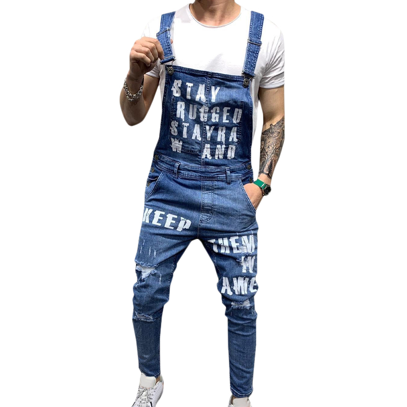 Mens Overalls Ripped Denim Jeans Letter Peinted Overalls Dungaree