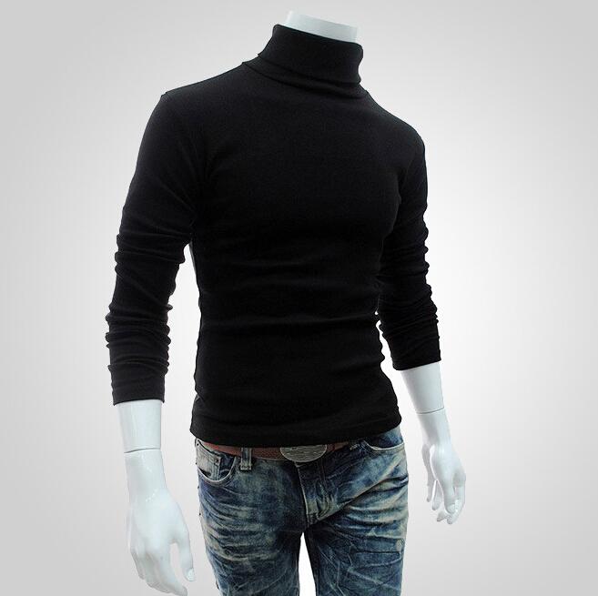 black Turnleneck Pullover Solid Color Jumper