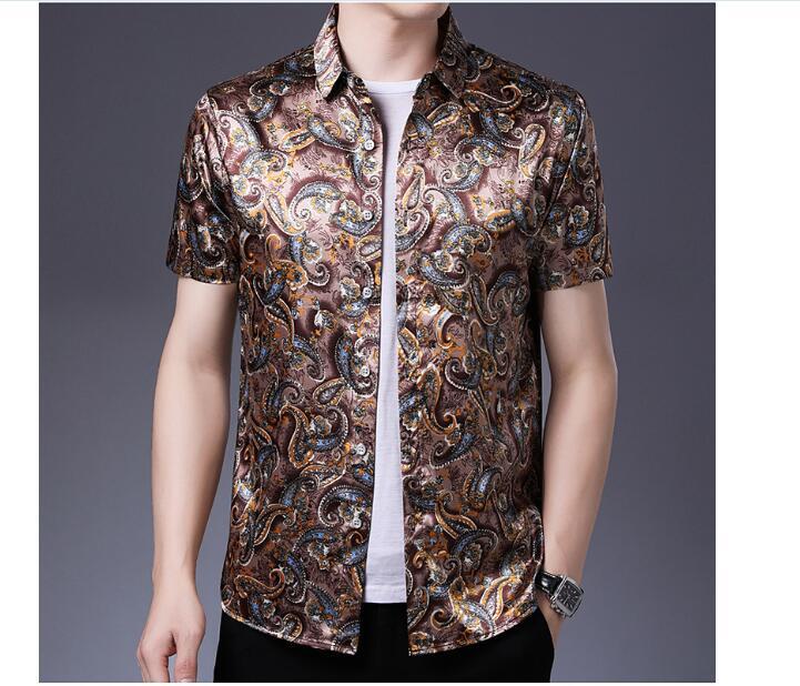 Floral Printed Satin Silk Dress Shirts