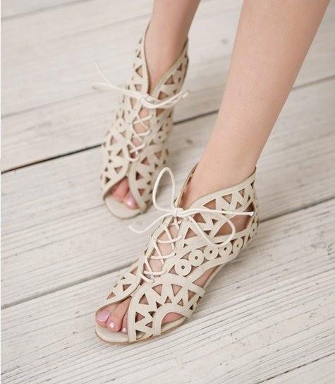 Lace Up Zipper Women Sandals Open Toe Low Wedges Bohemian Beach Shoes