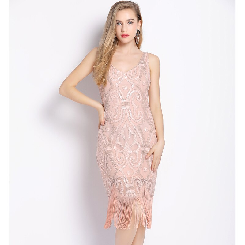 Sequin Bead Embellished Fringe Swing Dress