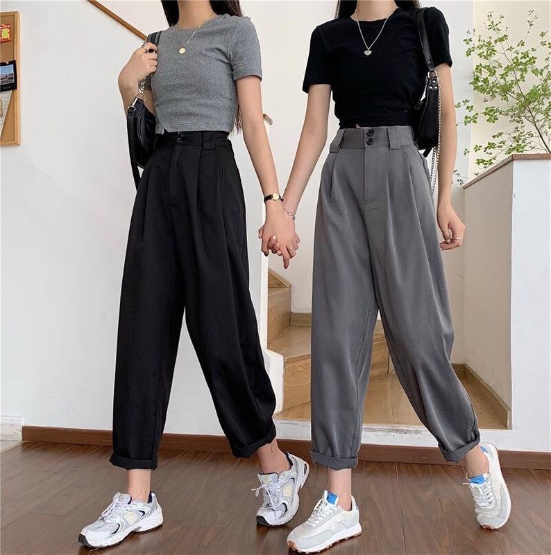 Harem Straight Pants - Vintage High Waisted Wide Leg Baggy Pants , Women Linen Trending Trousers