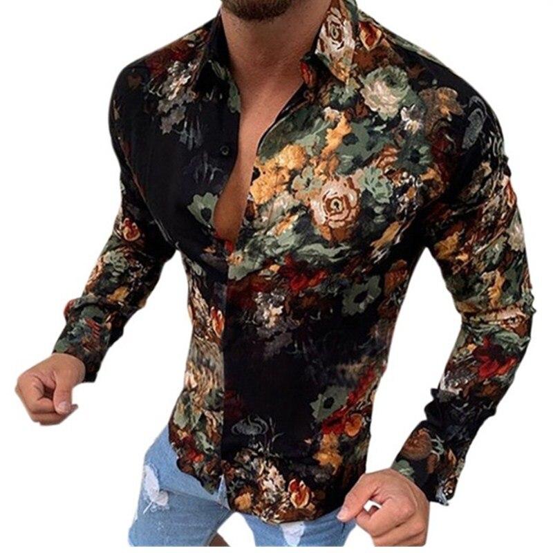 Mens Hawaiian Shirt Loose Printed