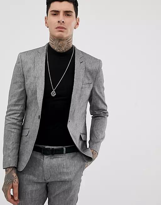 Heart & Dagger skinny fit suit jacket in grey linen mix