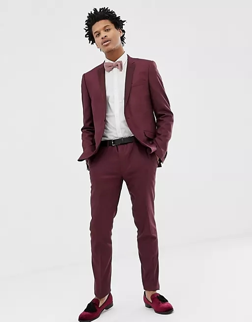 Heart & Dagger skinny fit suit jacket with satin lapel in red