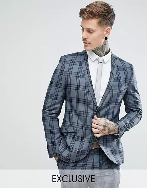 Heart & Dagger slim suit jacket in check
