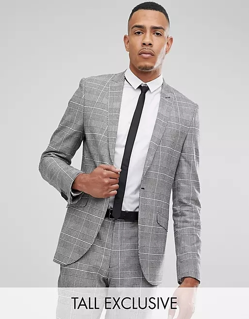 Heart & Dagger tall skinny suit jacket in prince of wales check