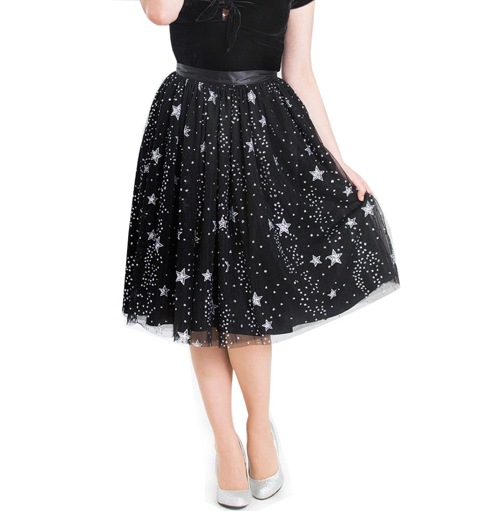Hell Bunny 50s Black Twinkly Sparkly Skirt COSMIC LOVE Glitter Stars All Sizes