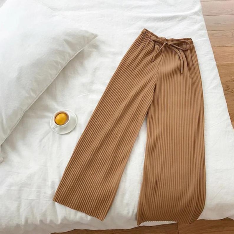High Waist Cooling Pants Casual Drawstring Wide Pants, Gray, Brown, Green, Black