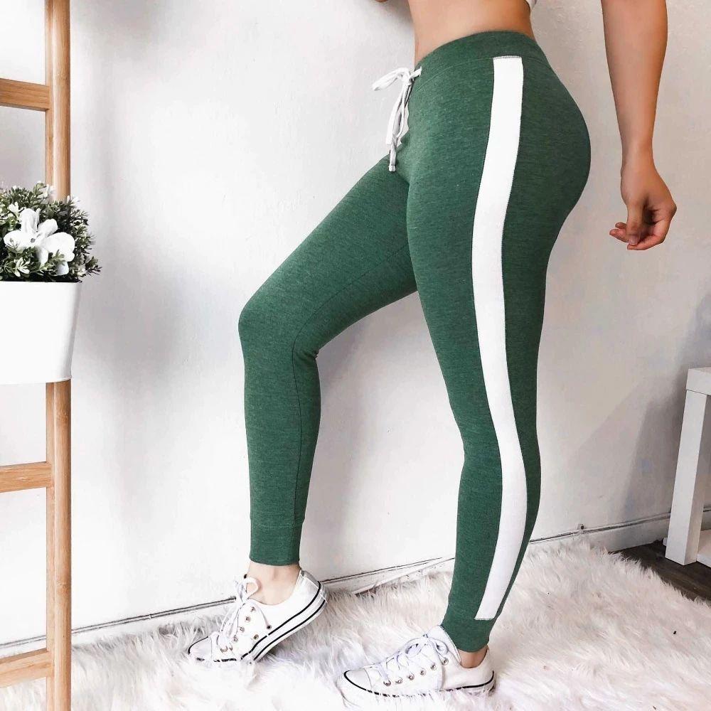 High Waist Drawstring Sweatpants Women Side Stripe Pants Nice Vogue Slim Fit Trousers