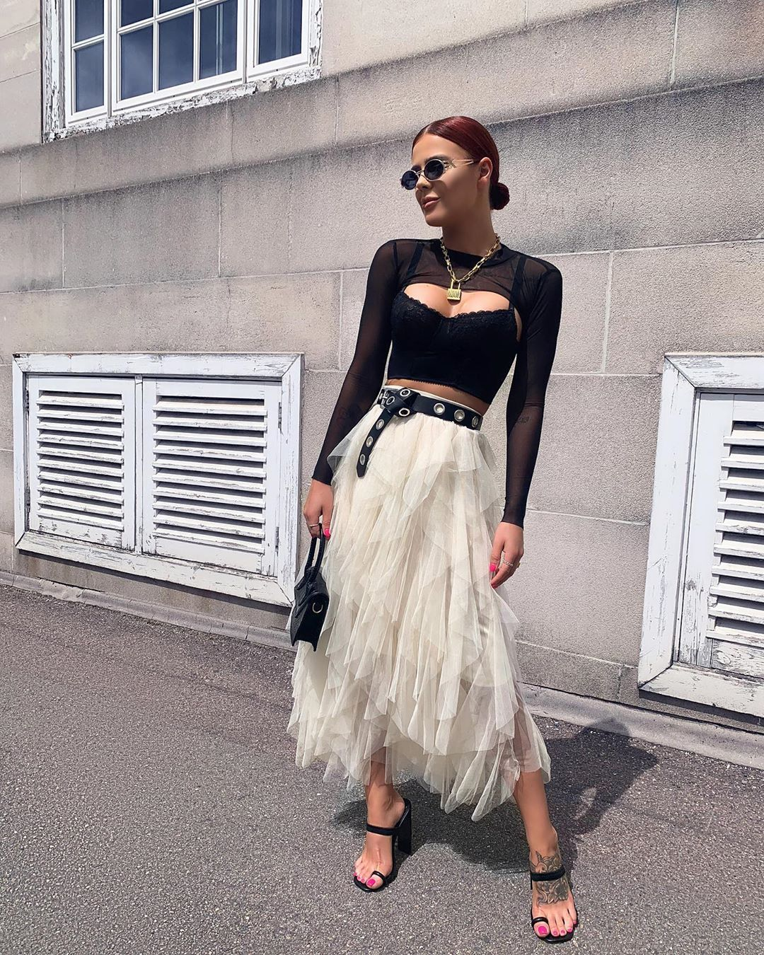 High Waisted Layered Tulle Midi Skirt