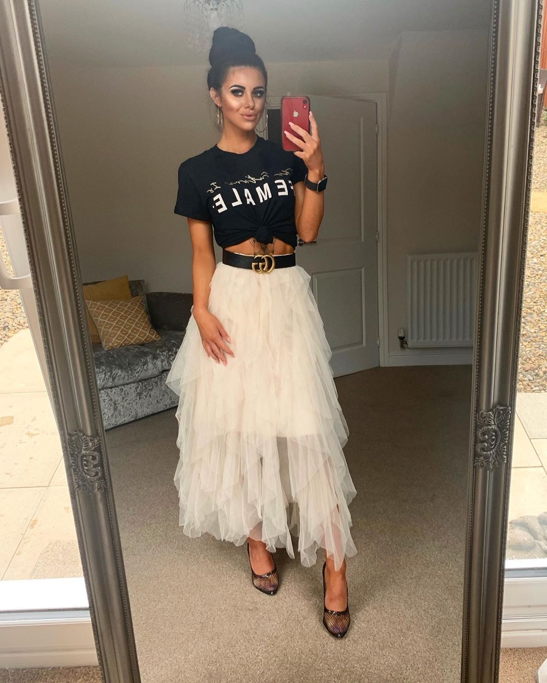 High Waisted Layered Tulle Ruffle Midi Skirt