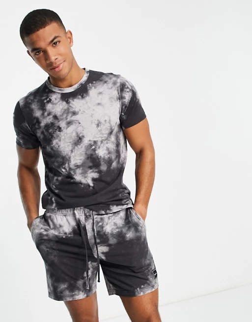 Hollister lounge set shorts and t-shirt in black tie dye