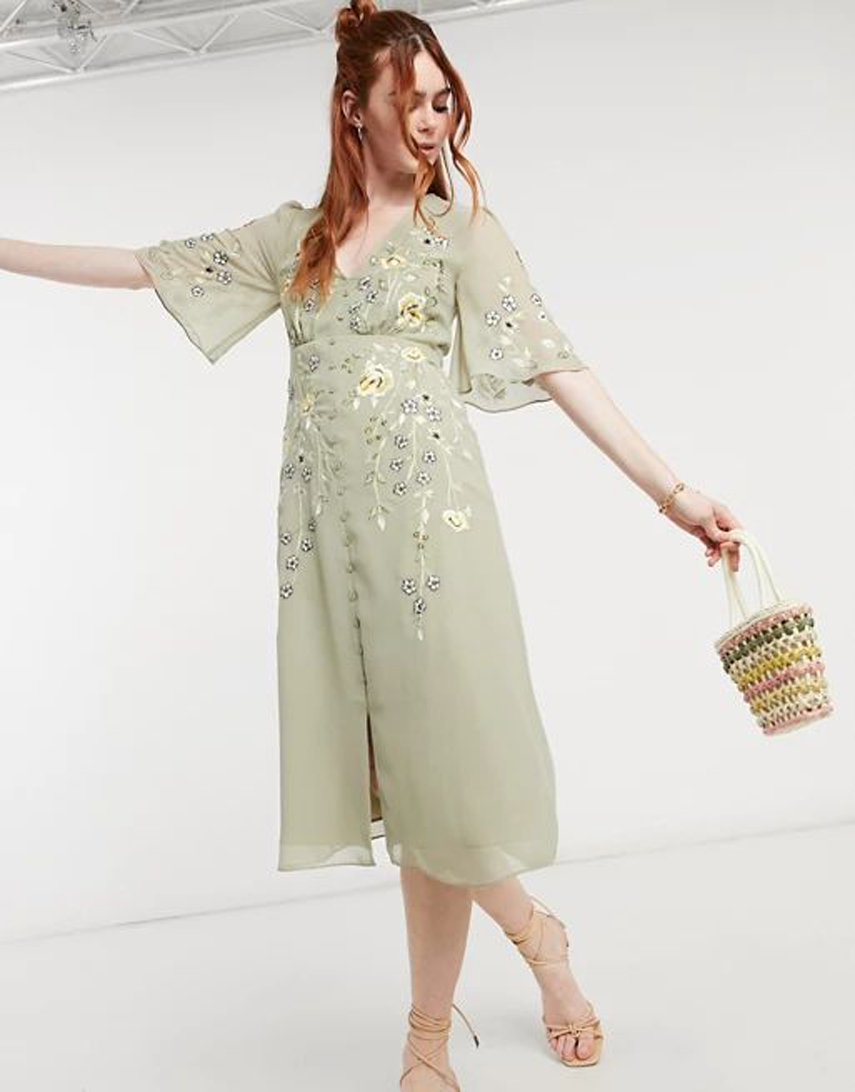 Hope & Ivy embroidered floral plunge midi tea dress in sage green