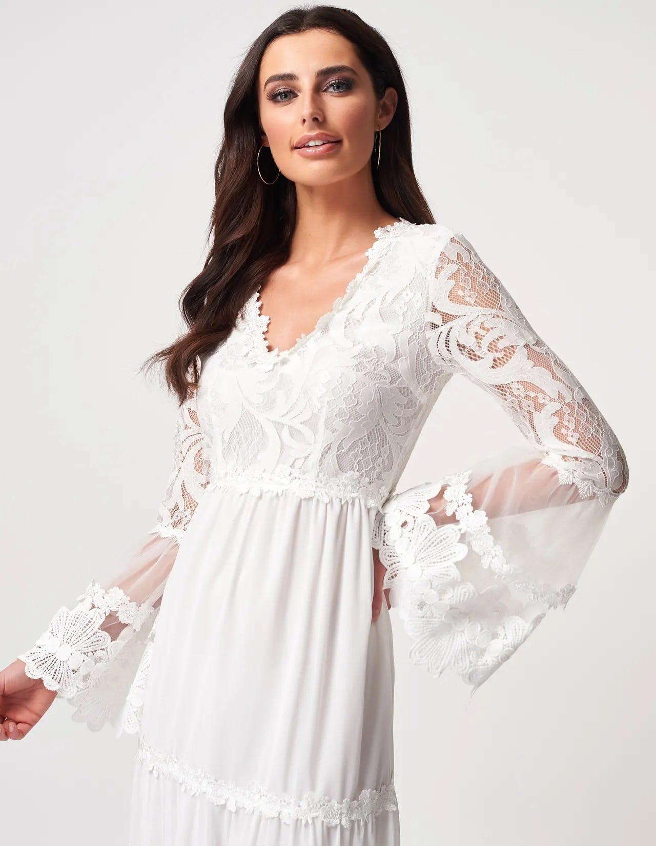 Ivory Long Sleeve Lace Detailed Maxi Dress