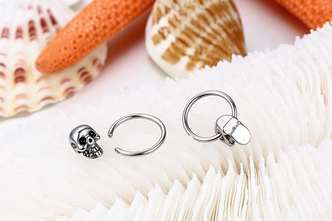 JewelryWe 2pcs Punk Rock Style Stainless Steel Mens Skull Head Hoop Earrings
