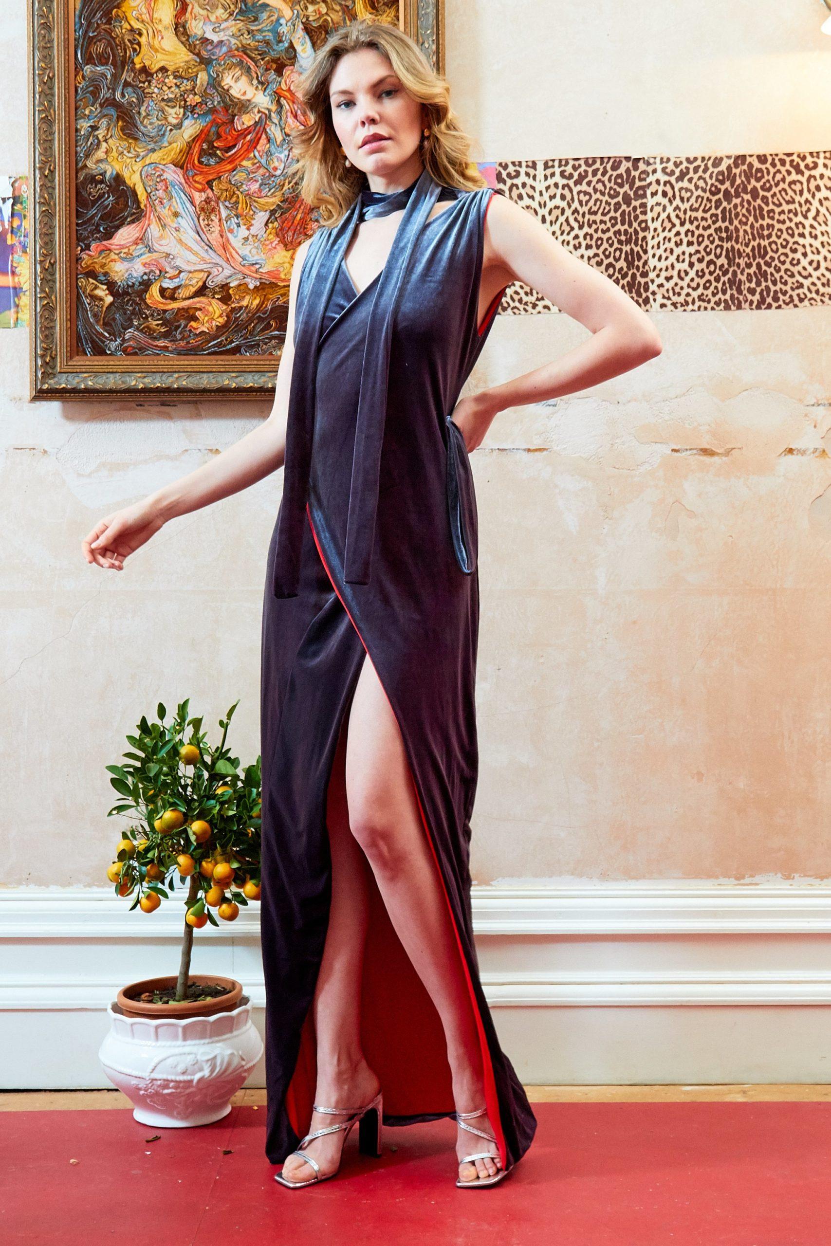 Velvet blend Silk Wrap maxi Dress