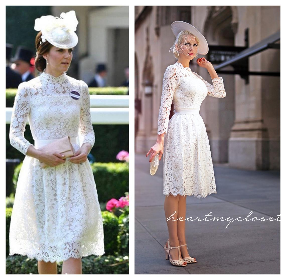 Kate Middleton white lace dress inspired cocktail event dress custom made