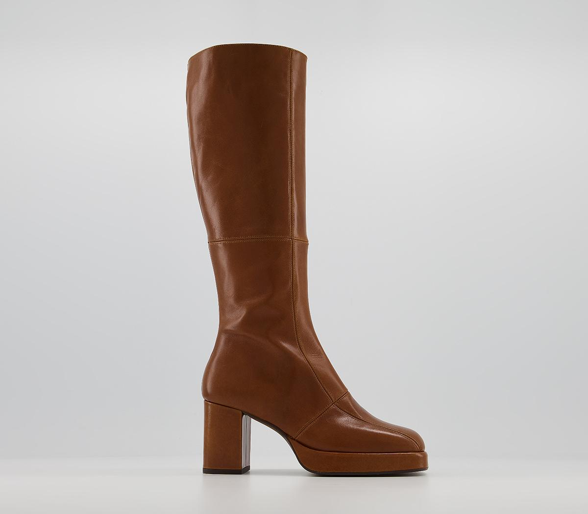 Kay Platform Knee Boots Tan Leather