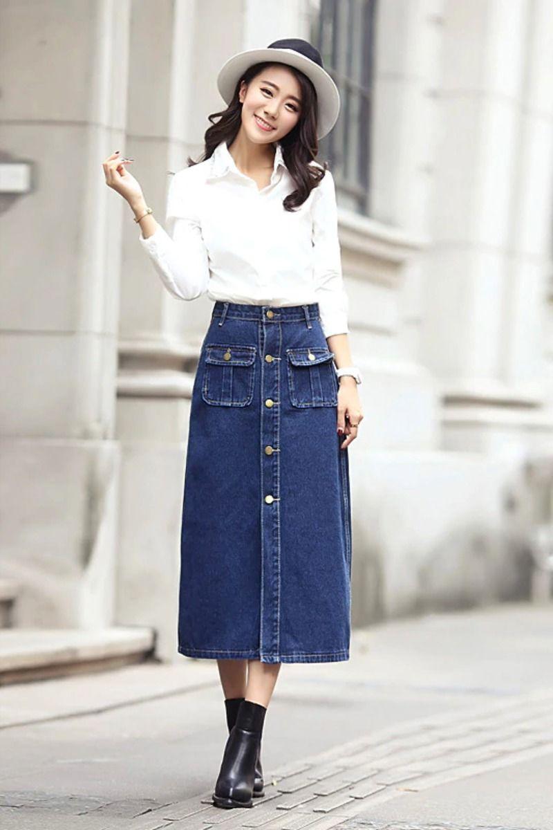 Keyidi Ladies High Waist Korean Denim Long Skirt