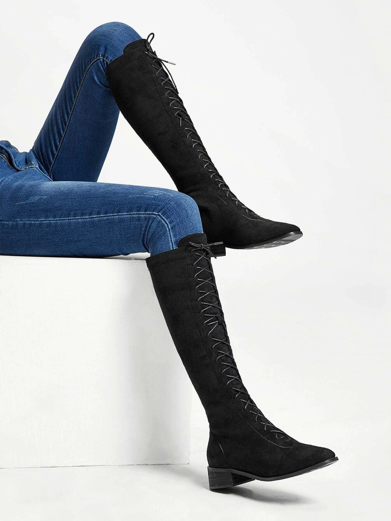 Knee Length Lace Up Boots