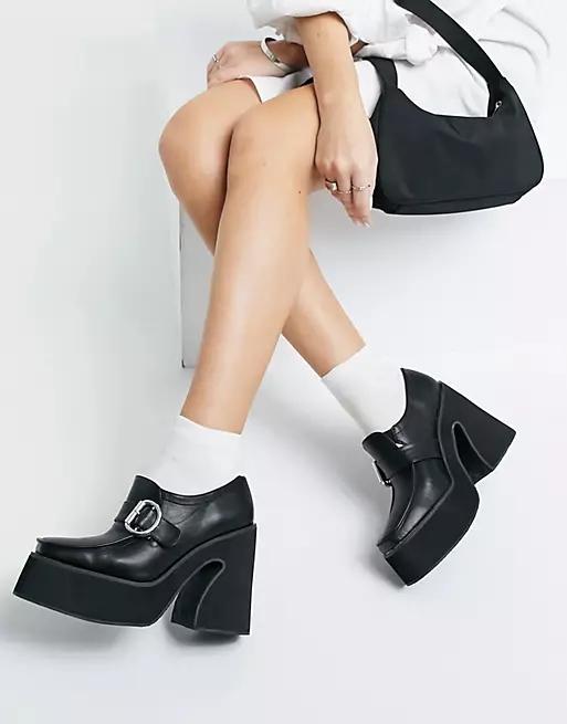 Koi Footwear vegan chunky heeled loafers in black