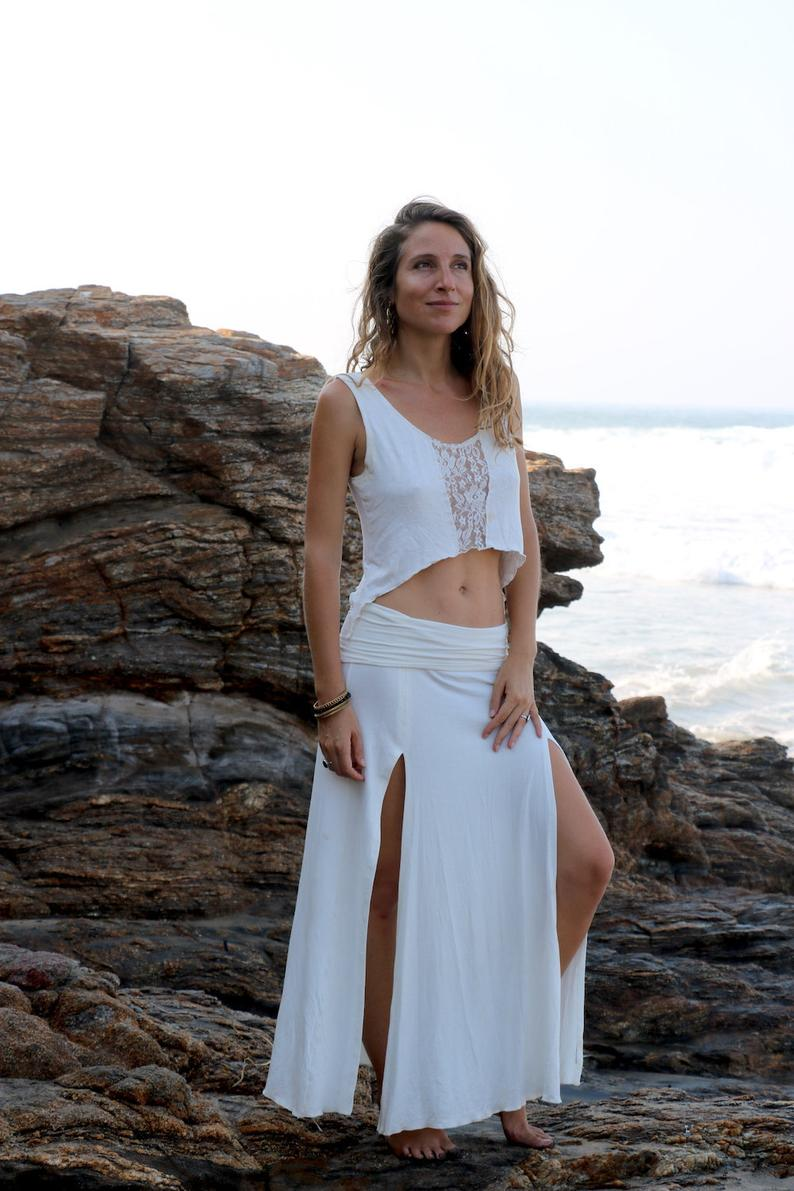 LALITA Long Skirt, Slit Long Skirt, Open Front Skirt, Bohemian Skirt, White Long Skirt, Bohemian Long Skirt, Boho Skirt, Festival Clothing