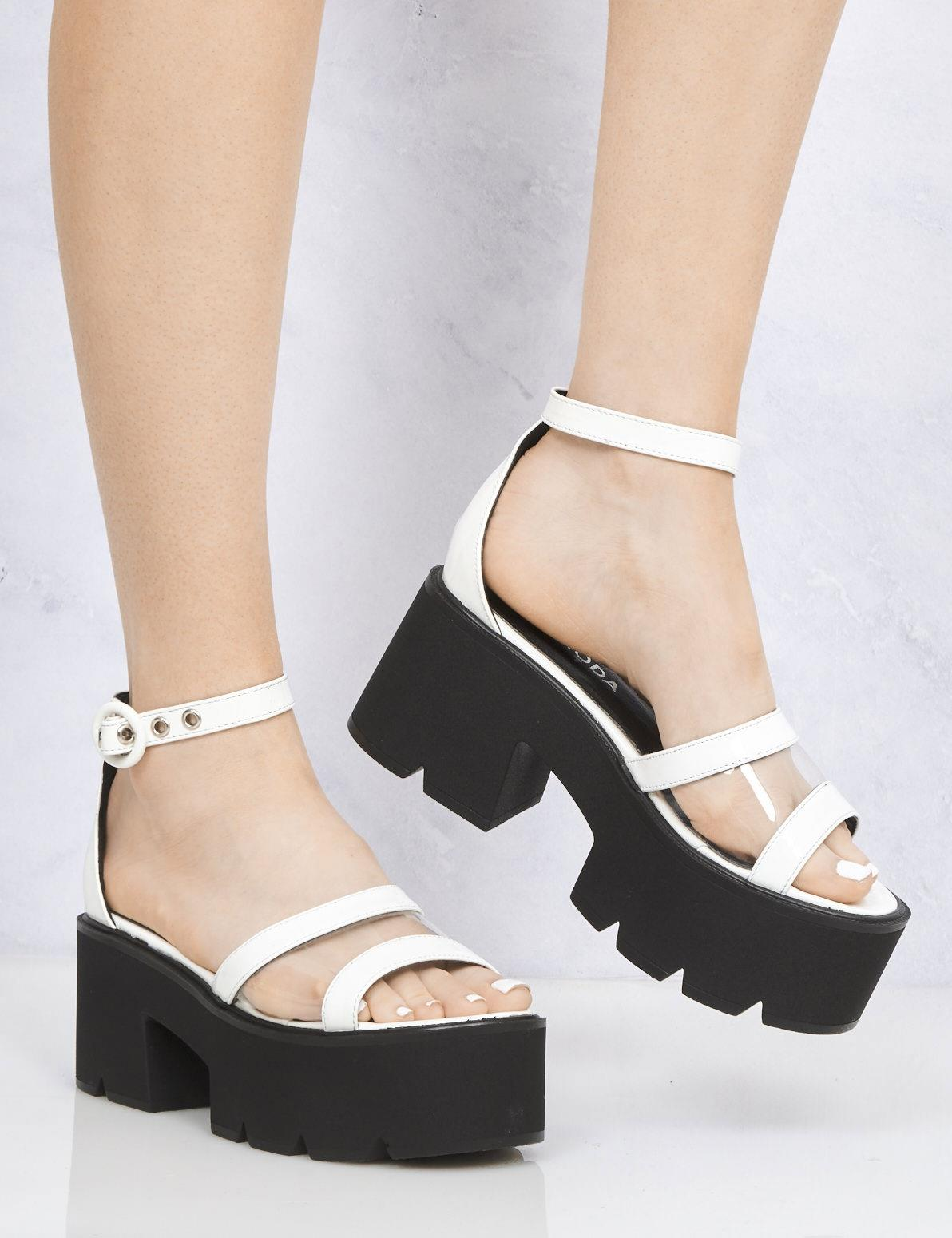 LAMODA Starlight Ankle Strap Chunky Platform Sandal White Ladies Womens Shoes