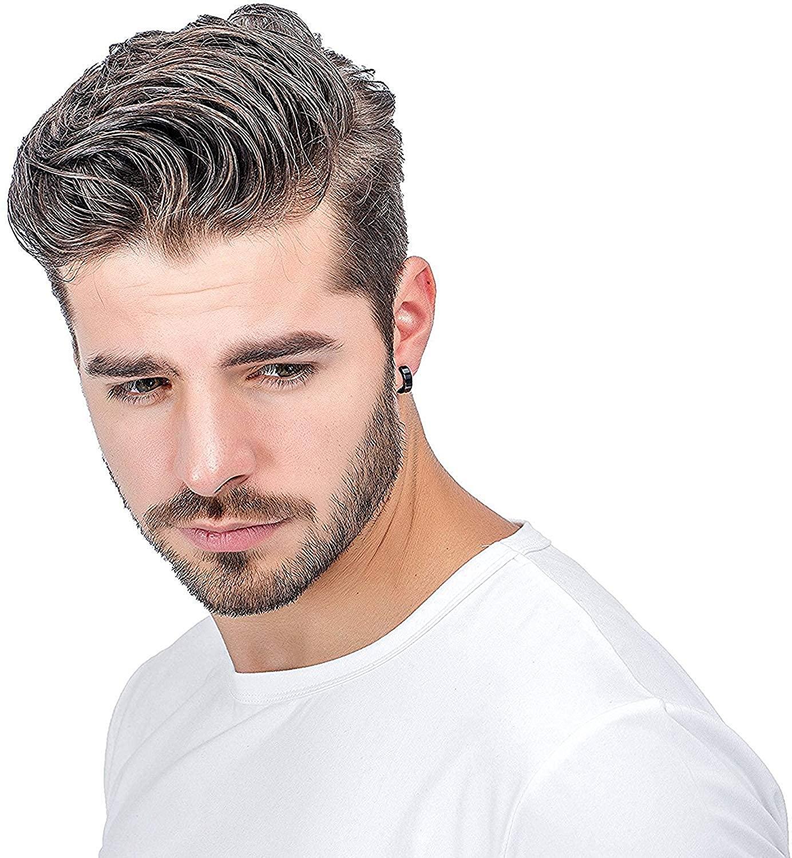 LOLIAS Stainless Steel Small Hoop Earrings for Men Black Unique Ear Piercing 1-4 Pairs Huggie Earrings