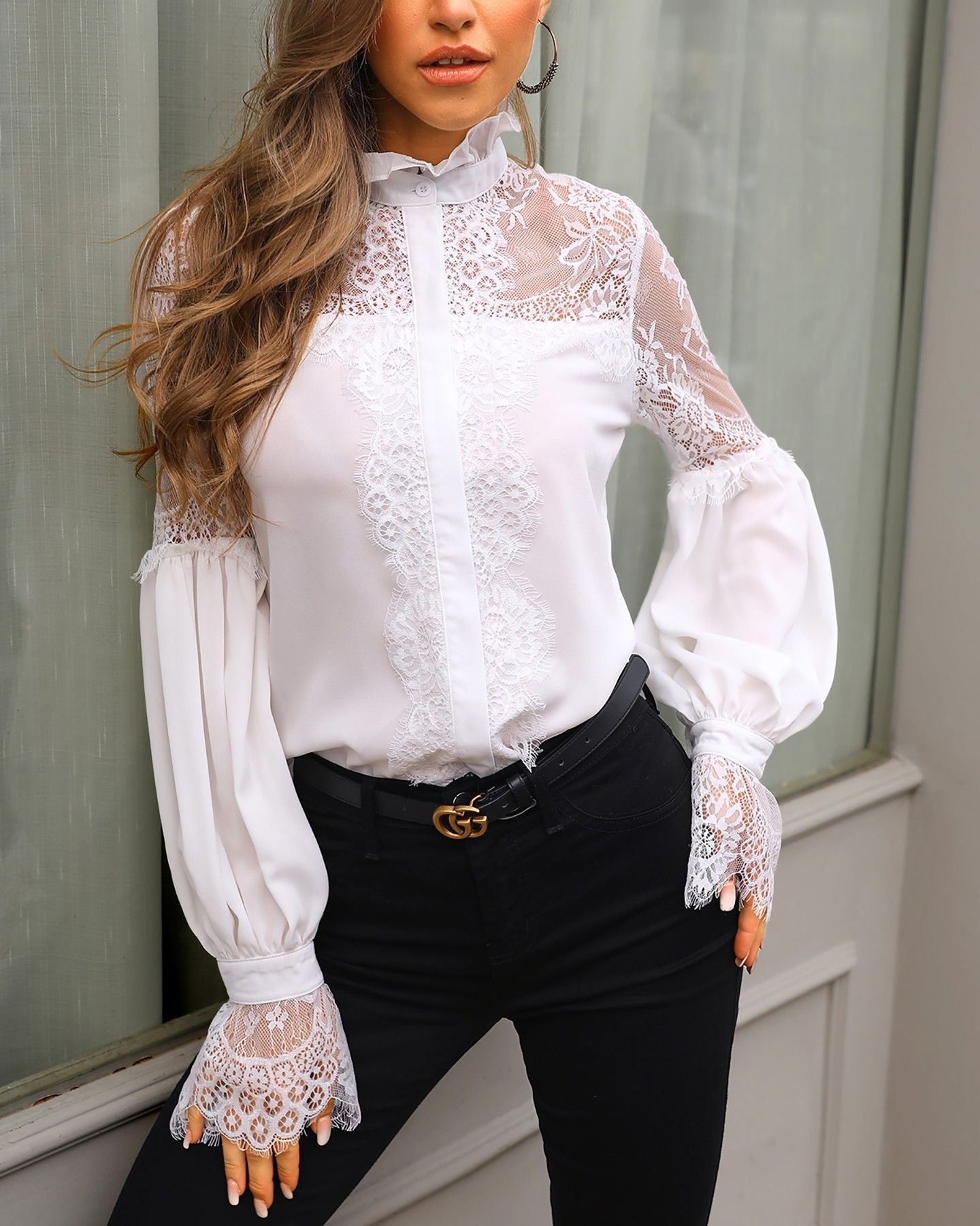 Lace Insert Latern Sleeve Blouse
