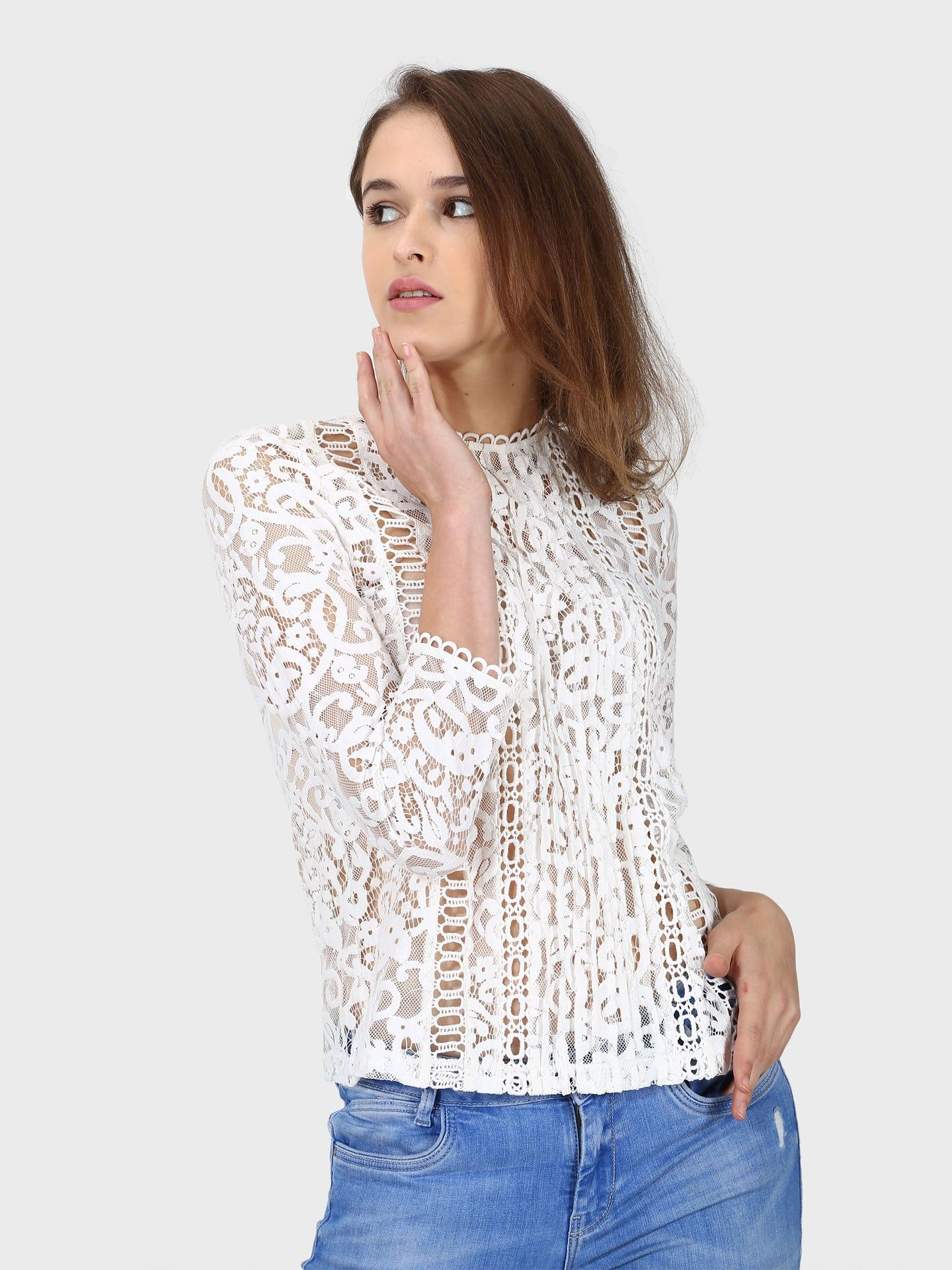 Lace Top With Crochet Inserts