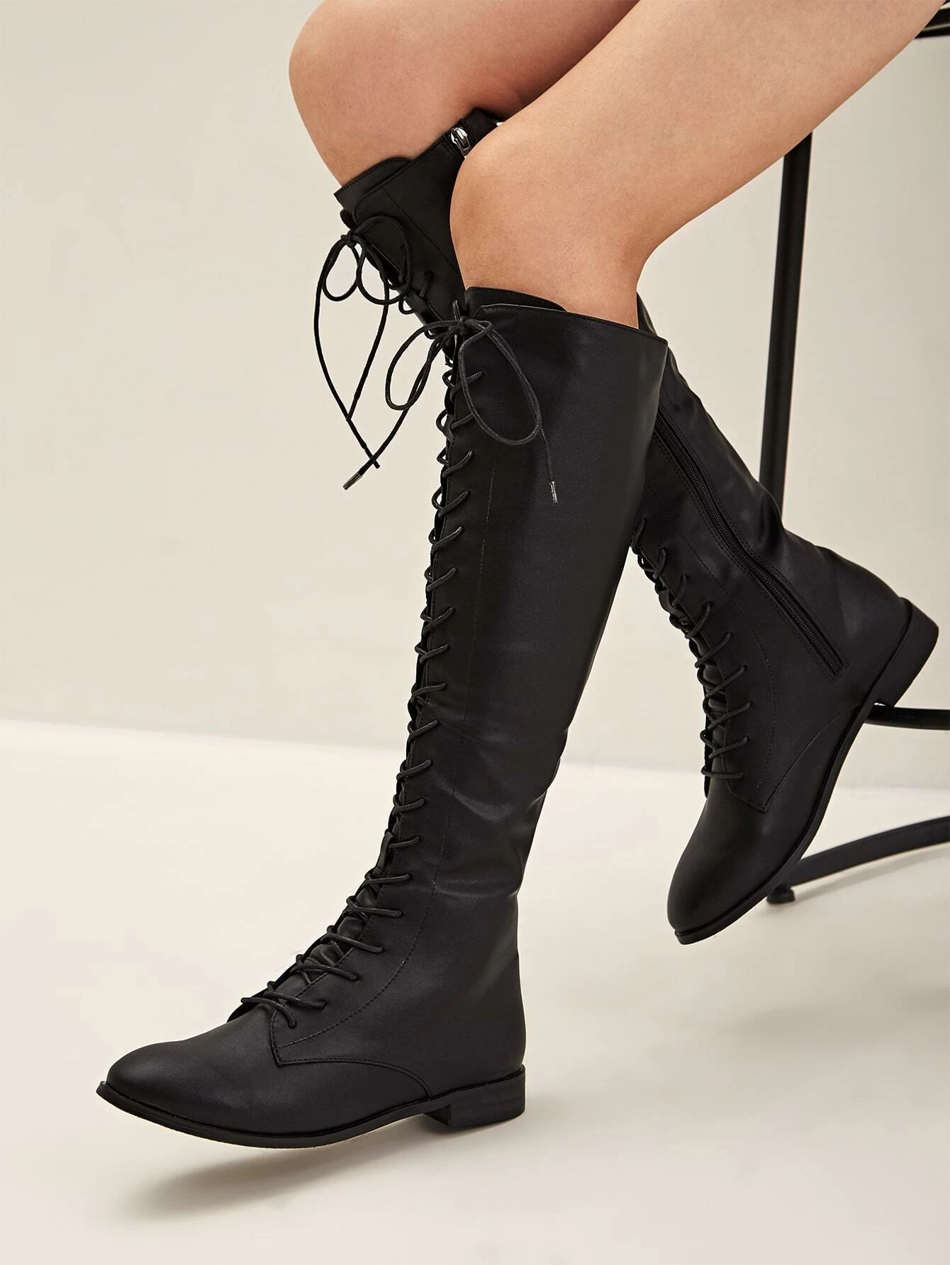 Lace-up Front Knee Length Boots