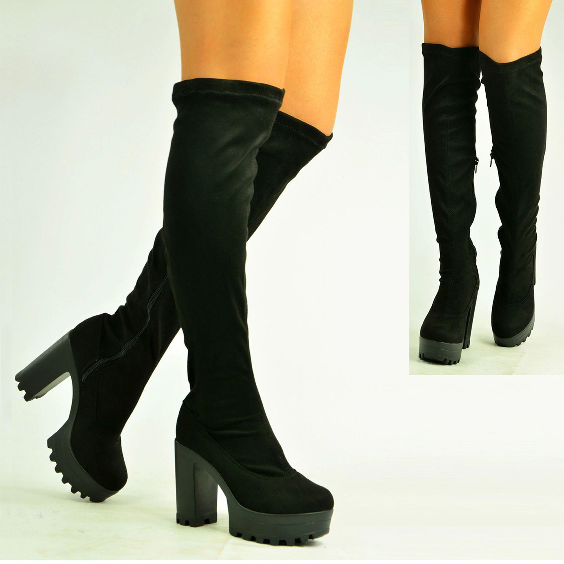 Ladies Knee Boots High Chunky Block Heel Platform