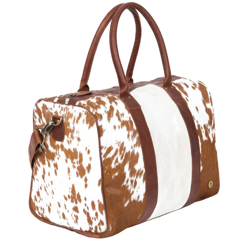 Leather Cowhide Compact Holdall Duffle - Animal Print with Natural Fur - Weekend Bag
