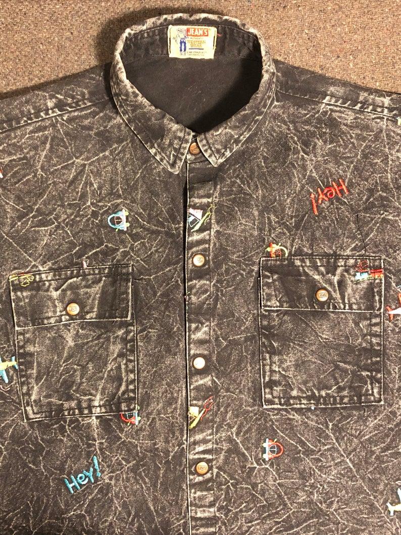Levis Black Acid Wash Embroidered Shirt